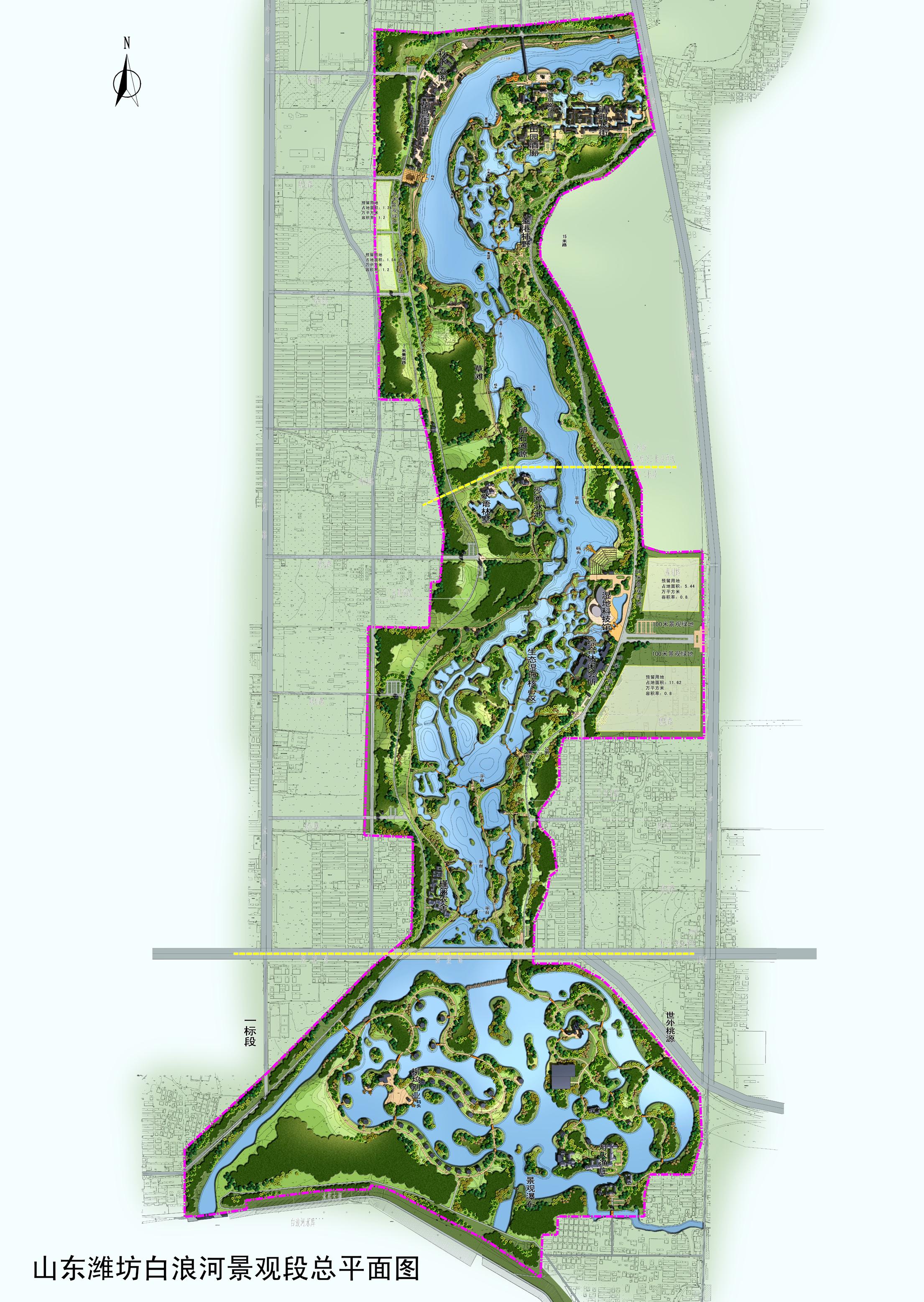 白浪河湿地平面图